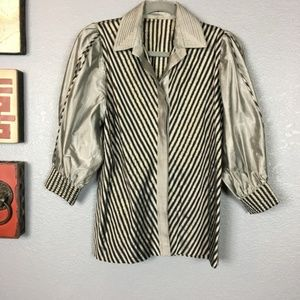 Disco Chic Handmade Silver Puffed Sleeve Blouse S